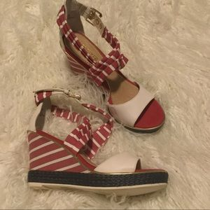 Sperry Red White And Blue Sandal Wedges
